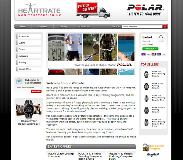 Heartrate Monitor Store - E2EXpress Ecommerce Website